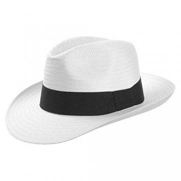 White Mountain Strohhut (Bogarthut) aus Papierstroh Damen und Herren | Hut mit Ripsband | Sommerhut in weiß | Sonnenhut Größe S (54-55 cm) | Strandhut Frühling/Sommer - 1