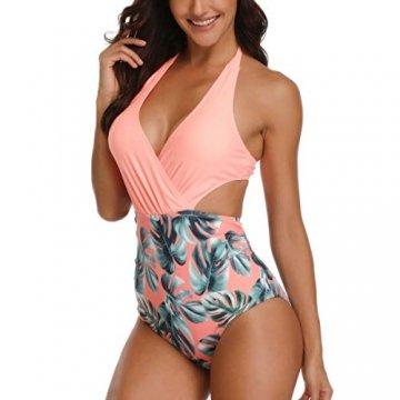 WinCret Damen Badeanzug V-Ausschnitt Neckholder Hohe Taille Einteilige Monokini Bademode Swimsuit - 2