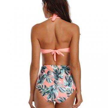 WinCret Damen Badeanzug V-Ausschnitt Neckholder Hohe Taille Einteilige Monokini Bademode Swimsuit - 3