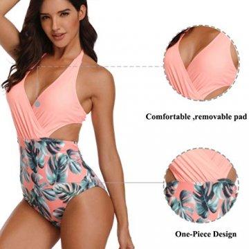 WinCret Damen Badeanzug V-Ausschnitt Neckholder Hohe Taille Einteilige Monokini Bademode Swimsuit - 4