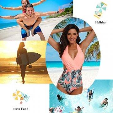 WinCret Damen Badeanzug V-Ausschnitt Neckholder Hohe Taille Einteilige Monokini Bademode Swimsuit - 6