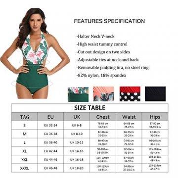 WinCret Damen Badeanzug V-Ausschnitt Neckholder Hohe Taille Einteilige Monokini Bademode Swimsuit - 7