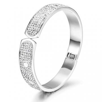 WISTIC Damen Armband Vergoldet Armreif mit Funkeln Kristall Schmuck Geburtstag Geschenk Silber Rose Gold rostfreier Stahl Armband - 1