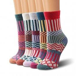 Wollesocken, Moliker Damen Socken Winter Socken 5 Paar atmungsaktiv warm weich bunte Farbe Premium Qualität klimaregulierende Wirkung (5006) - 1