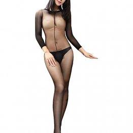 XWZG Damen Unterwäsche Nylon Strumpfhose Langarm Catsuit Ouvert Unterwäsche Hautfarbe und Schwarz - 1