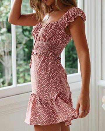 Ybenlover Damen Blumen Sommerkleid High Waist Volant Kleid Vintage Minikleid Strandkleid - 3
