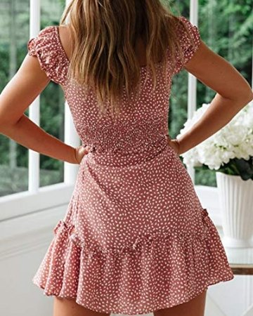 Ybenlover Damen Blumen Sommerkleid High Waist Volant Kleid Vintage Minikleid Strandkleid - 4