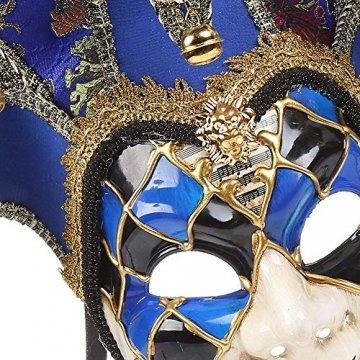 YCWY Masken von Venedig, Vollgesichtsmaske Karneval Maske handgemachte venezianische Partei Karneval Kostüm Maskerade Maske Joker Maske,Blue - 3