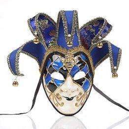 YCWY Masken von Venedig, Vollgesichtsmaske Karneval Maske handgemachte venezianische Partei Karneval Kostüm Maskerade Maske Joker Maske,Blue - 1