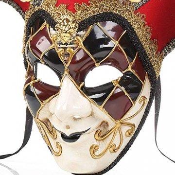 YCWY Masken von Venedig, Vollgesichtsmaske Karneval Maske handgemachte venezianische Partei Karneval Kostüm Maskerade Maske Joker Maske,Blue - 6