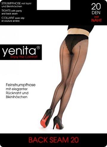Yenita 3er Pack Nahtstrumpfhose 20 Den schwarz, Feinstrumpfhose Back Seam 20