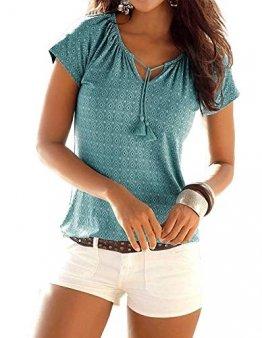 Yidarton T-Shirt Damen V-Ausschnitt Kurzarm Oberteile Sommer Allover Print Neckholder Blusen Shirt Tops (Grün, s) - 1