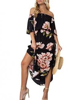 YOINS Sommerkleid Damen Lang V-Ausschnitt Off Shoulder Maxikleider für Damen Kleider Lose Kleid Strandmode,Schulterfrei-schwarz,EU 40-42 (Medium) - 1