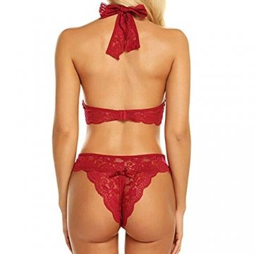 Yvelands Damen Versuchung Unterwäsche reizvolle Spitze-Ineinander greifen-Perspektive BH-rassige Versuchung Unterwäsche(Rot,L) - 2