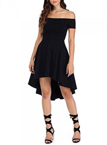 ZJCTUO Damen Kleid Abendkleid Schulterfreies Cocktailkleid Jerseykleid Skaterkleid Knielang Elegant Festlich Asymmetrisches Partykleid, A -Schwarz-v2, 40(L)-Bust:90cm - 3