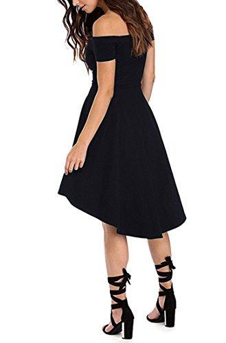 ZJCTUO Damen Kleid Abendkleid Schulterfreies Cocktailkleid Jerseykleid Skaterkleid Knielang Elegant Festlich Asymmetrisches Partykleid, A -Schwarz-v2, 40(L)-Bust:90cm - 4