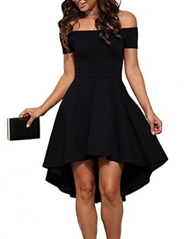 ZJCTUO Damen Kleid Abendkleid Schulterfreies Cocktailkleid Jerseykleid Skaterkleid Knielang Elegant Festlich Asymmetrisches Partykleid, A -Schwarz-v2, 40(L)-Bust:90cm - 1