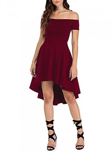 ZJCTUO Damen Kleid Abendkleid Schulterfreies Cocktailkleid Jerseykleid Skaterkleid Knielang Elegant Festlich Asymmetrisches Partykleid, B -Wein-v2, 38(M)-Bust:86cm - 3