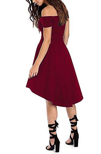 ZJCTUO Damen Kleid Abendkleid Schulterfreies Cocktailkleid Jerseykleid Skaterkleid Knielang Elegant Festlich Asymmetrisches Partykleid, B -Wein-v2, 38(M)-Bust:86cm - 4