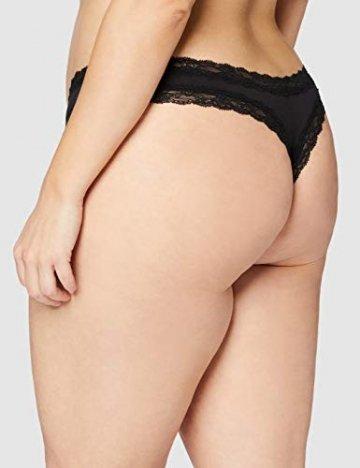 Amazon-Marke: Iris & Lilly Damen Tanga aus Baumwolle mit Spitze, 5er-Pack, Schwarz (Schwarz), 3XL, Label: 3XL - 4