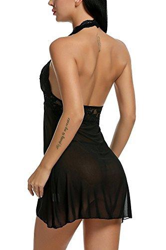 Avidlove Negligee Damen Nachtwäsche Nachtkleid Nachthemd Spitze Lingerie Dessous Reizwäsche Set Sleepwear Kleid, A-schwarz, XL - 7