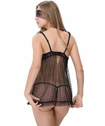 KELITCH Damen Sexy Dessous Set Schwarz Brust Offen Babydoll Mesh Transparente Erotik Lingerie Nachtkleid mit G-string und Augenmaske - Größe XXL - 3