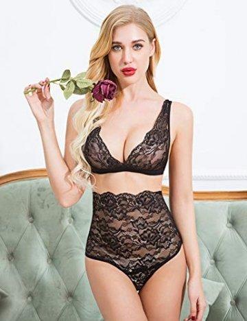 ADOME Sexy Dessous Set BH Dessous Sexy Erotische Lingerie Höhe Taille Reizwäsche Nachtwäsche Unterwäscshe Lace Spitze Erotik Unterwäsche und Slip Reizwäsche Set - 3