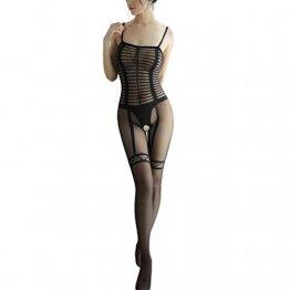 Baby Dolls Sexy, LANSKIRT Sexy Netzstrümpfe Bodysuit mit offenem Schritt Nachtwäsche Dessous-Frauen Overalls Bodysuit Nachtwäsche Schwarz - 1
