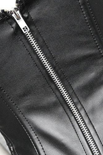 EUDOLAH Damen Sexy Gothic Kunstleder Korsagenkleid Schwarz Leder Corsage Clubwear S-6XL (4XL, A-Schwarz) - 4