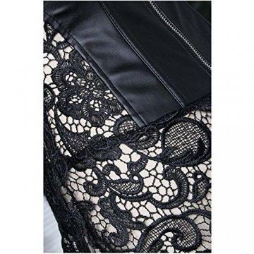 EUDOLAH Damen Sexy Gothic Kunstleder Korsagenkleid Schwarz Leder Corsage Clubwear S-6XL (4XL, A-Schwarz) - 9