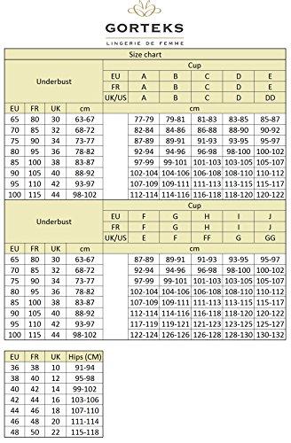 Gorteks Scarlet/B3 Halbversteifter BH, Geblümt, Spitze, Regulierbare Träger, Seitenstäbchen, Versteifte Cups, Setteil,Top Qualität, EU, Rot,85C - 7