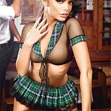 VicSec Sexy Schulmädchen Kostüm 2 Stück für Frauen, Erotik Schulanzug Student Uniformen Mädchen Cosplay V-Ausschnitt Rollenspiel Geheime Damen Dessous Paare Mini Green Plaid Rock - 2
