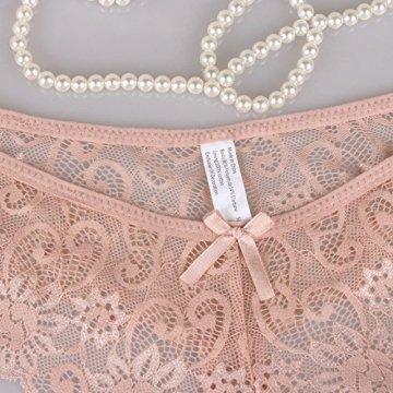 Yidarton Hose Pack Damen Spitze Wäsche Dessous Verführerisch String Fit Lingerie Soft Tange Thong Underwear Set, Stil 2-6bk, S - 6