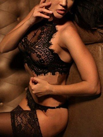 YOINS Damen Sexy Dessous Reizwäsche Spitzelingerie mit String Erotik Unterwäsche Nachtwäsche Set Schwarz XS - 4