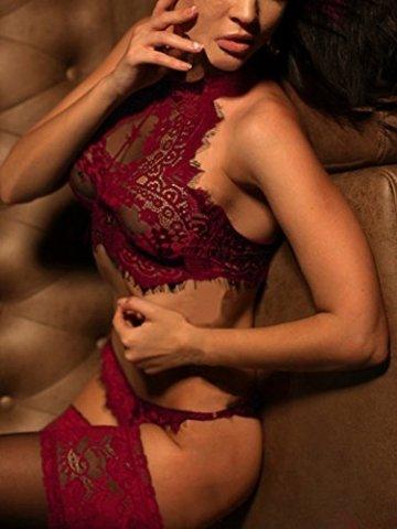 YOINS Damen Sexy Dessous Reizwäsche Spitzelingerie mit String Erotik Unterwäsche Nachtwäsche Set Rot L - 2
