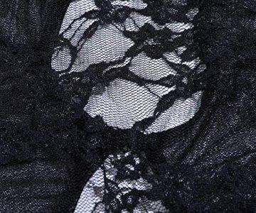Acramy Damen Reizwäsche Body Offener Schritt Große Größen Dessous Ouvert (XXL, B-schwarz) - 4