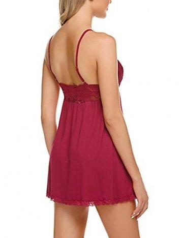 ADOME Negligee Sexy BH Babydoll Nachtwäsche Sleepwear Nachthemd für Damen Spitze Nachtkleid Dessous mit Spitzendetail - 2