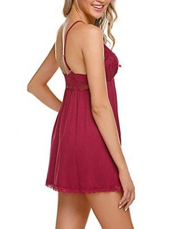 ADOME Negligee Sexy BH Babydoll Nachtwäsche Sleepwear Nachthemd für Damen Spitze Nachtkleid Dessous mit Spitzendetail - 3