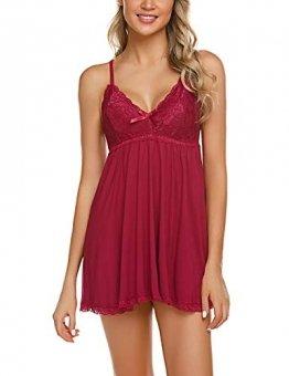 ADOME Negligee Sexy BH Babydoll Nachtwäsche Sleepwear Nachthemd für Damen Spitze Nachtkleid Dessous mit Spitzendetail - 1