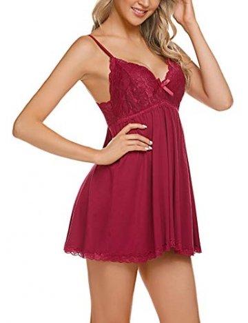 ADOME Negligee Sexy BH Babydoll Nachtwäsche Sleepwear Nachthemd für Damen Spitze Nachtkleid Dessous mit Spitzendetail - 5
