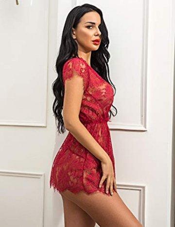 ADOME Reizwäsche Dessous-Sets Lingerie Damen Sexy V-Ausschnitt Nachthemd Spitze Negligee Unterwäsche Set Erotik Sleepwear Kleid - 2