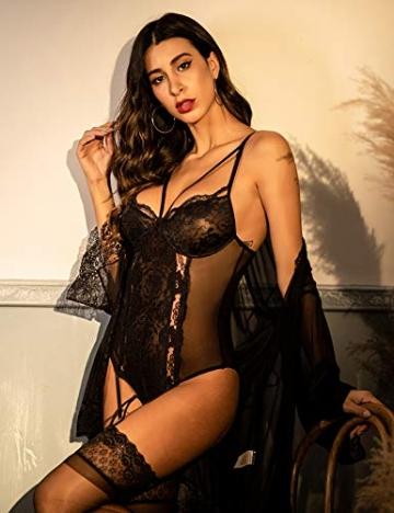 ADOME Reizwäsche Sexy Dessous Strapsen Lingerie Damen Body Erotische Unterwäsche Frauen mit Strapsgürtel - 2