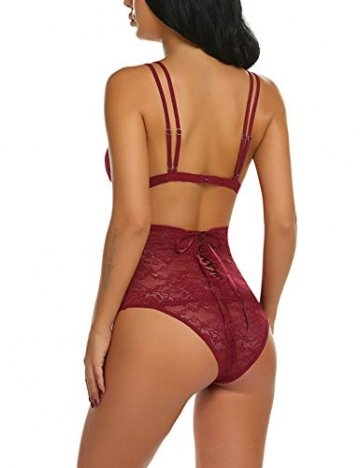 ADOME Sexy Dessous Set BH Dessous Sexy Erotische Lingerie Höhe Taille Reizwäsche Nachtwäsche Unterwäscshe Lace Spitze Erotik Unterwäsche und Slip Reizwäsche Set - 7