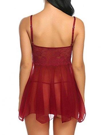 ADOME Spitze Negligee Sexy V-Ausschnitt Babydoll Lingerie Nachtwäsche Kleid Dessous Set für Damen mit Unregelmäßiger Saum und String Rot EU S - 2