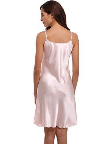 Aibrou Damen Sexy Negligee Nachthemd Satin Nachtkleid Nachtwäsche Unterwäsche Sleepwear Kurz Trägerkleid V Ausschnitt Rosa XXXL - 3