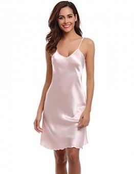 Aibrou Damen Sexy Negligee Nachthemd Satin Nachtkleid Nachtwäsche Unterwäsche Sleepwear Kurz Trägerkleid V Ausschnitt Rosa XXXL - 1