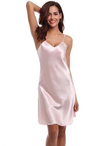 Aibrou Damen Sexy Negligee Nachthemd Satin Nachtkleid Nachtwäsche Unterwäsche Sleepwear Kurz Trägerkleid V Ausschnitt Rosa XXXL - 4