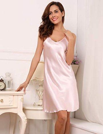 Aibrou Damen Sexy Negligee Nachthemd Satin Nachtkleid Nachtwäsche Unterwäsche Sleepwear Kurz Trägerkleid V Ausschnitt Rosa XXXL - 5