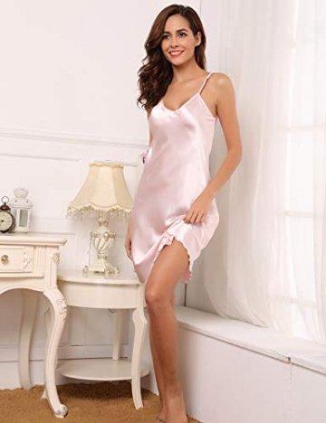 Aibrou Damen Sexy Negligee Nachthemd Satin Nachtkleid Nachtwäsche Unterwäsche Sleepwear Kurz Trägerkleid V Ausschnitt Rosa XXXL - 6