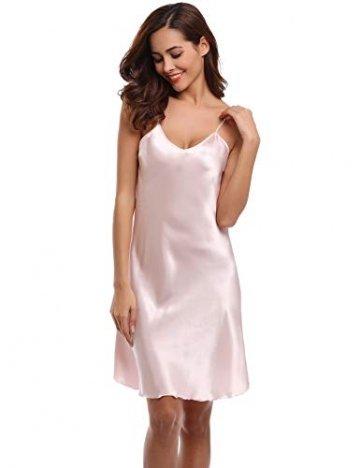 Aibrou Damen Sexy Negligee Nachthemd Satin Nachtkleid Nachtwäsche Unterwäsche Sleepwear Kurz Trägerkleid V Ausschnitt Rosa XXXL - 7